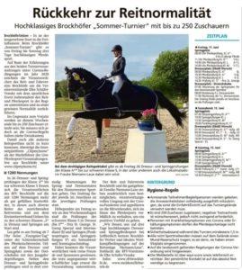 Zeitungsartikel Allgemeine Zeitung Sommerturnier 21